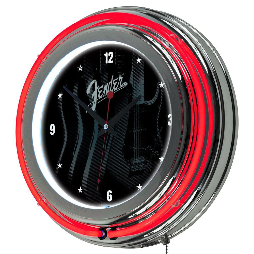 Trademark 14 in. Fender Stratocasters Galore Double Ring Neon Wall Clock