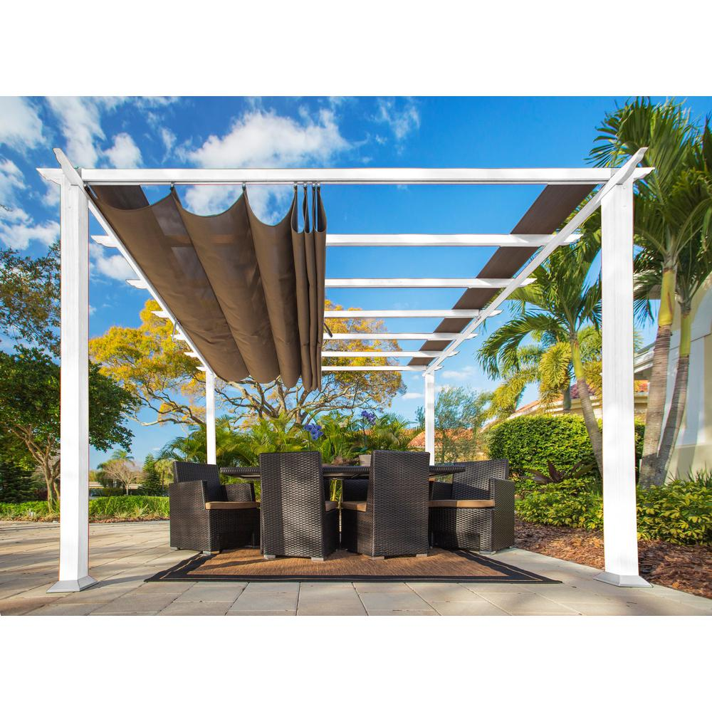 Paragon Outdoor Paragon 11 ft. x 11 ft. White Aluminum Pergola with Cocoa Color Convertible Canopy Top