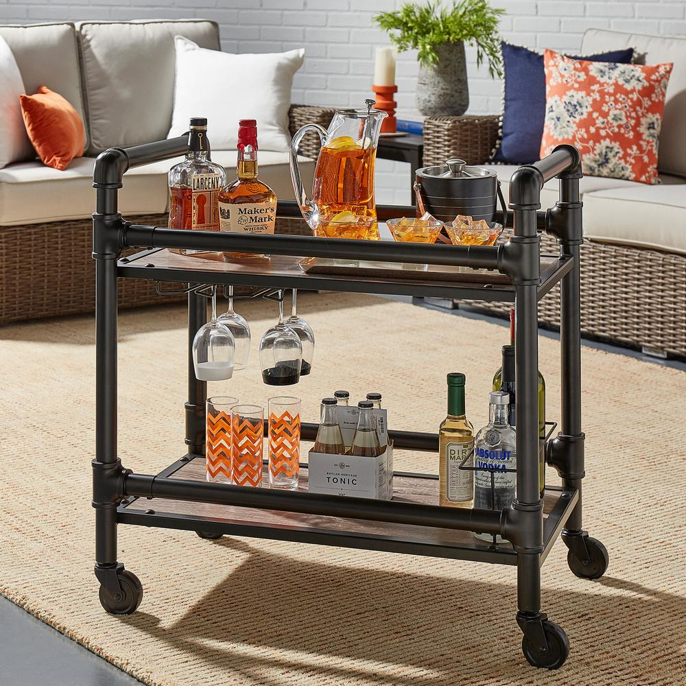 Armand Dark Bronze Bar Cart with Wine Glass Storage