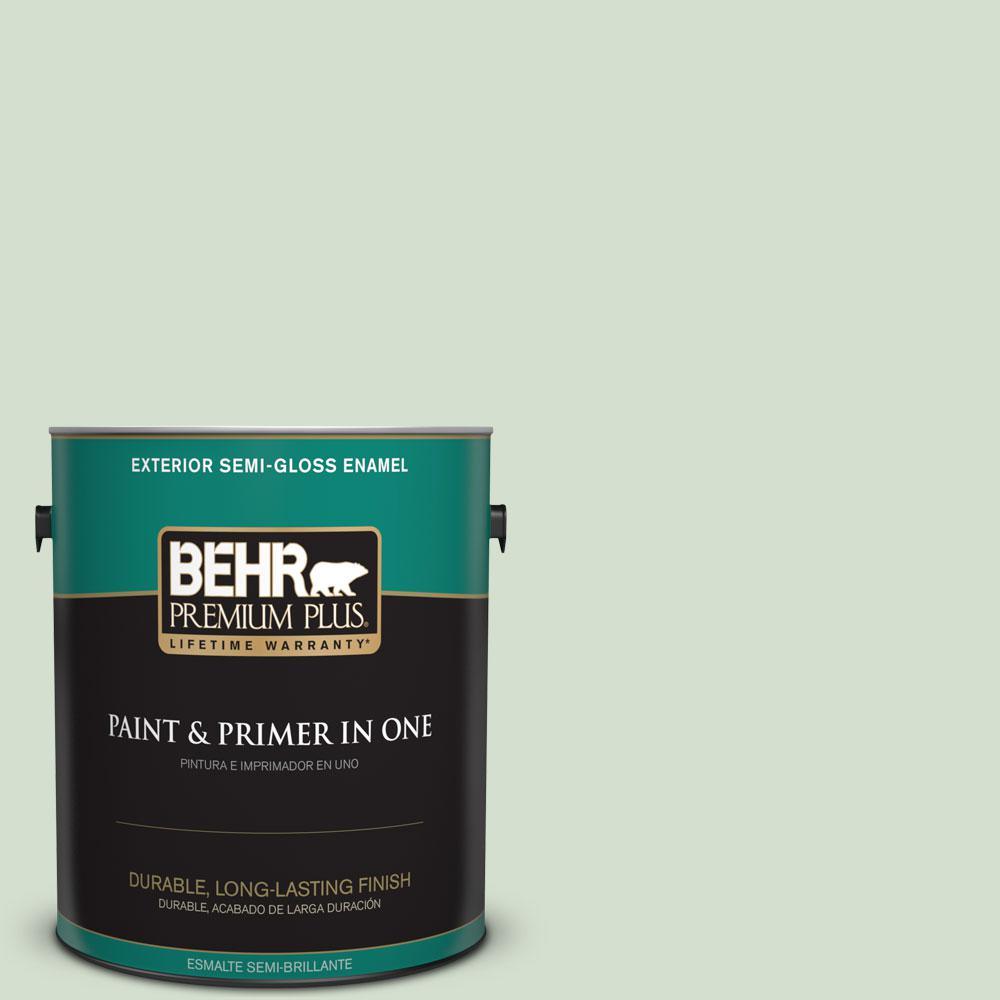 BEHR Premium Plus 1-gal. #440E-2 Herbal Mist Semi-Gloss Enamel Exterior Paint