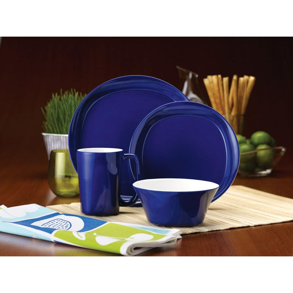 Rachael Ray Round and Square 16 Piece Dinnerware Set in Blue Raspberry