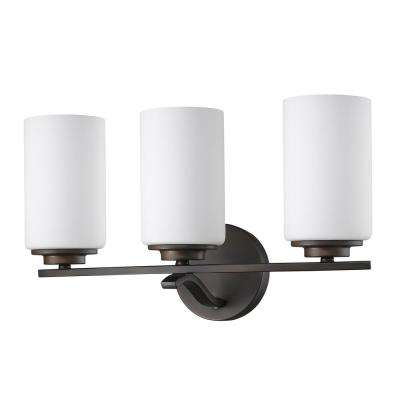 Poydras 3-Light Oil-Rubbed Bronze Vanity Light with Etched Glass Shades