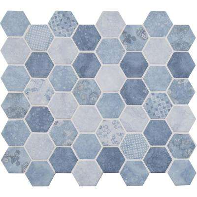 Vista Azul Hexagon 12 in. x 12 in. x 6mm Glass Mesh-Mounted Mosaic Tile (14.7 sq. ft. / case)
