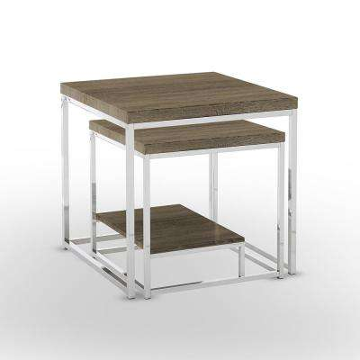 Lucia Grey 2-Piece Nesting Table with Chrome Base