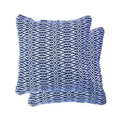 18 in. Square Navy Outdoor Throw Pillow (2-Pack)