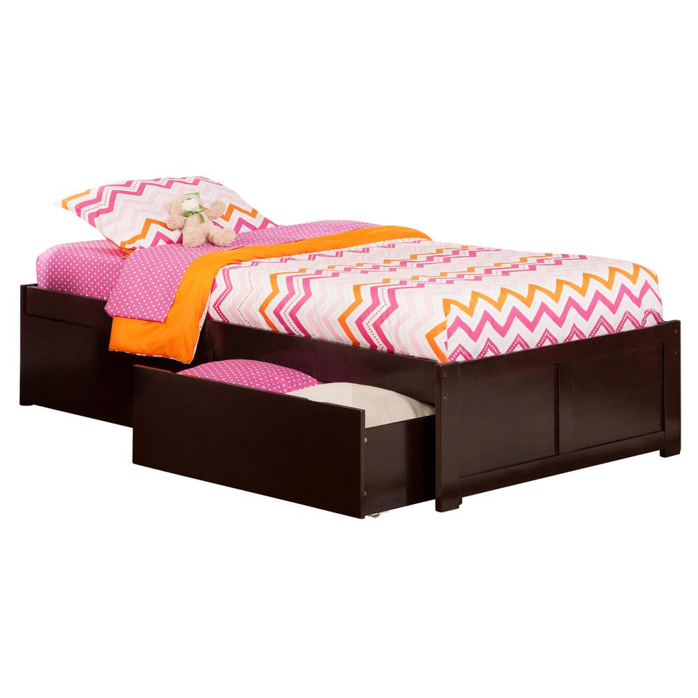 twin xl platform bed drawer underneath atlantic furniture concord espresso twin xl platform bed with flat panel foot board and 2