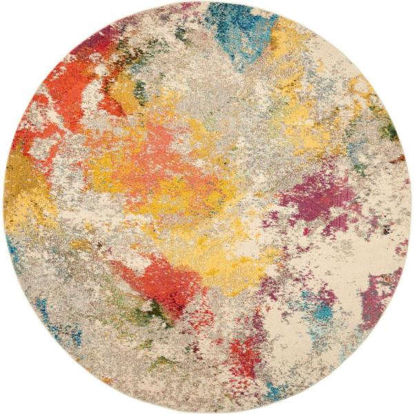 Celestial Ivory/Multicolor 8 ft. x 8 ft. Abstract Art Deco Round Area Rug