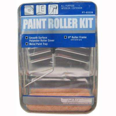 3-Piece 9 Roller Metal Tray Painting Kit
