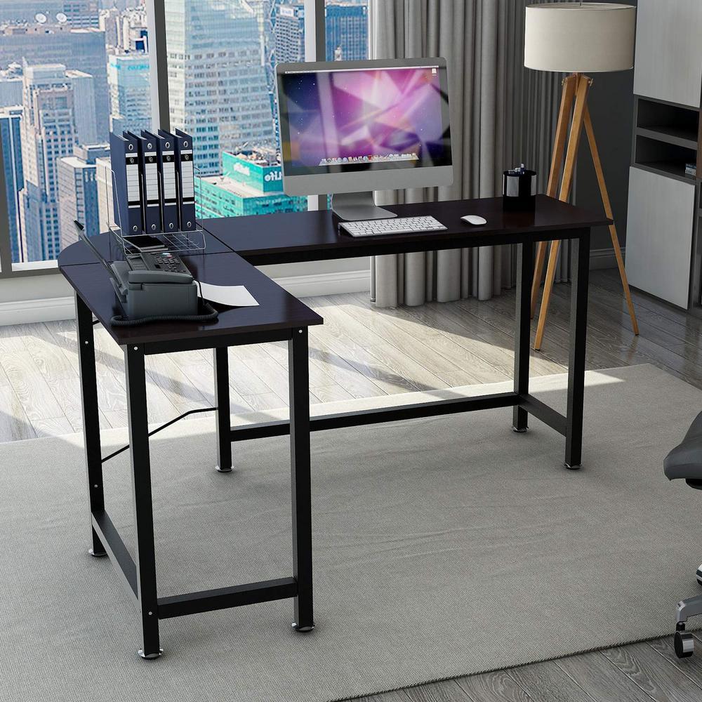 Black L-Shaped Home Office Corner Computer Desk