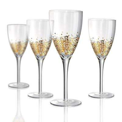 12 oz. Wine Glass with a Gold and Silver Confetti decoration (Set of 4)
