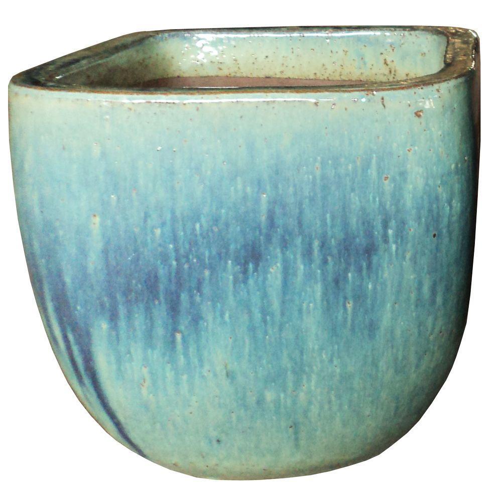 11.5 in. Dia. Blue Ceramic Lagos Square Pot