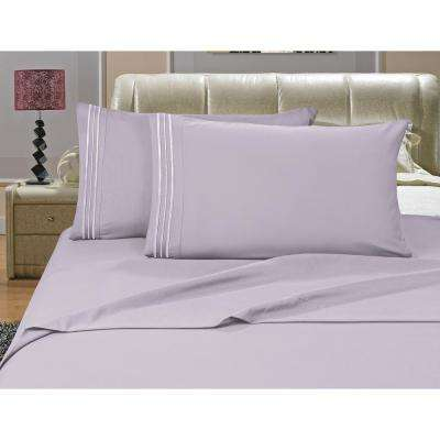 1500 Series 4-Piece Lilac Triple Marrow Embroidered Pillowcases Microfiber Queen Size Bed Sheet Set