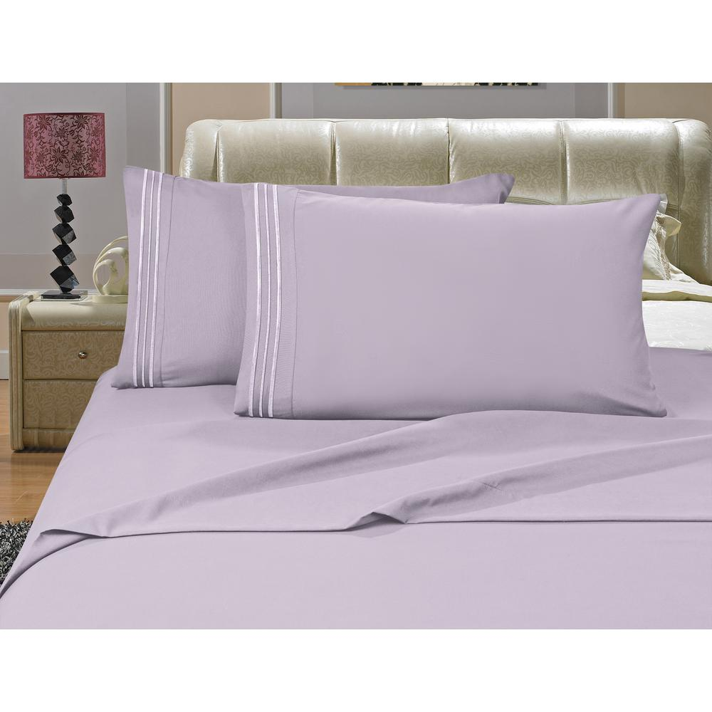 1500 Series 4-Piece Lilac Triple Marrow Embroidered Pillowcases Microfiber Split