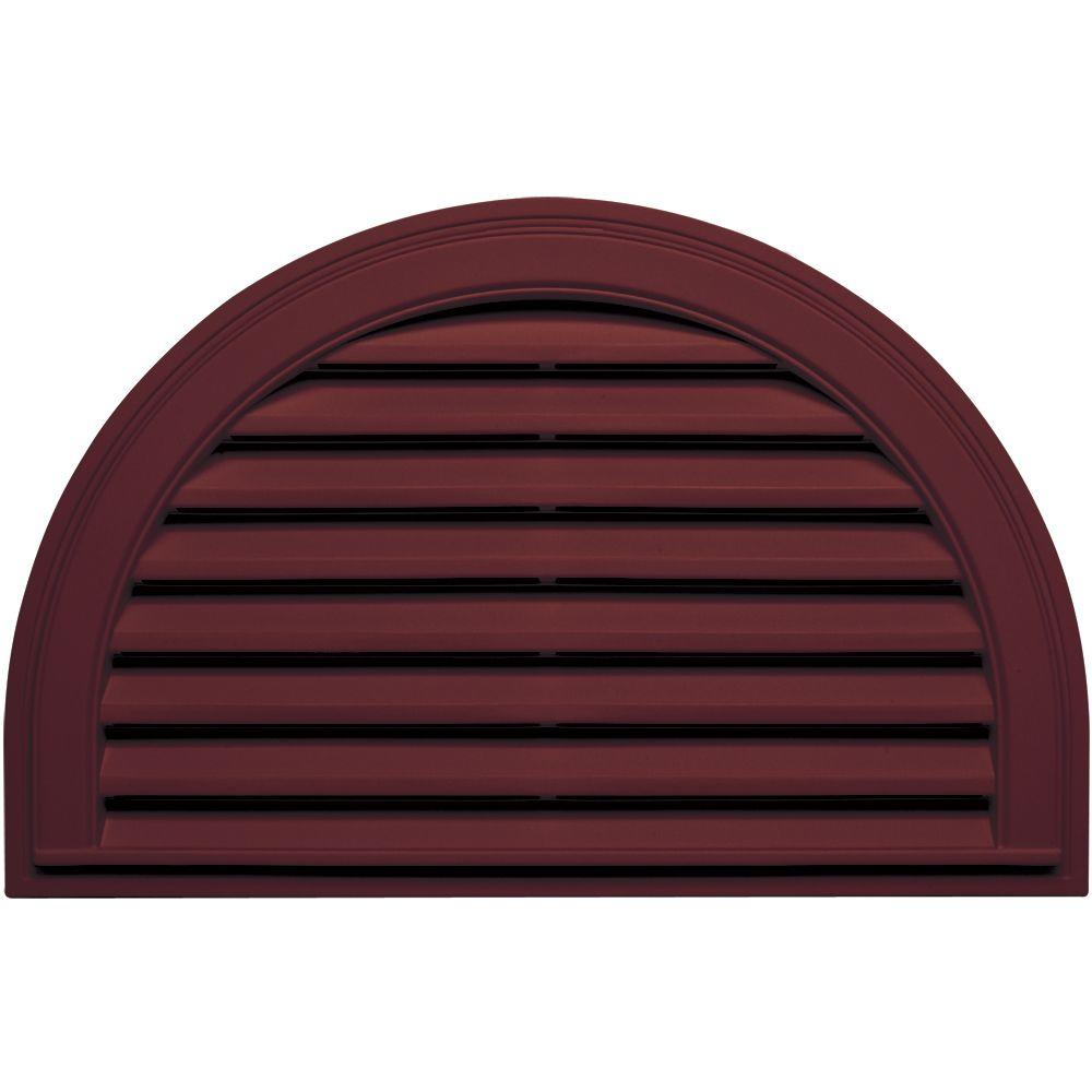 Builders Edge 22 in. x 34 in. Half Round Gable Vent in Wineberry