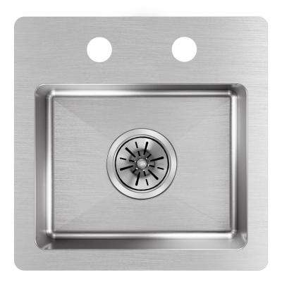 Crosstown Drop-In Stainless Steel 15 in. 1-Hole Single Bowl Kitchen Sink
