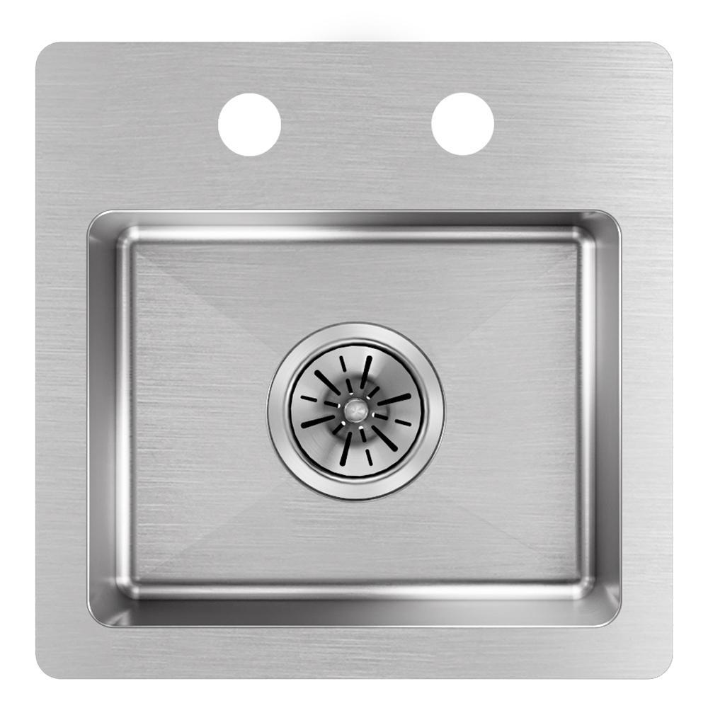 Crosstown Drop-In/Undermount Stainless Steel 15 in. 2-Hole Single Bowl Bar Sink