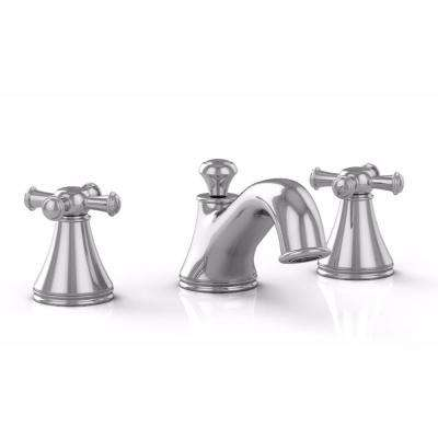 Vivian 8 in. Widespread 2-Handle Bathroom Faucet with Cross Handles in Polished Chrome