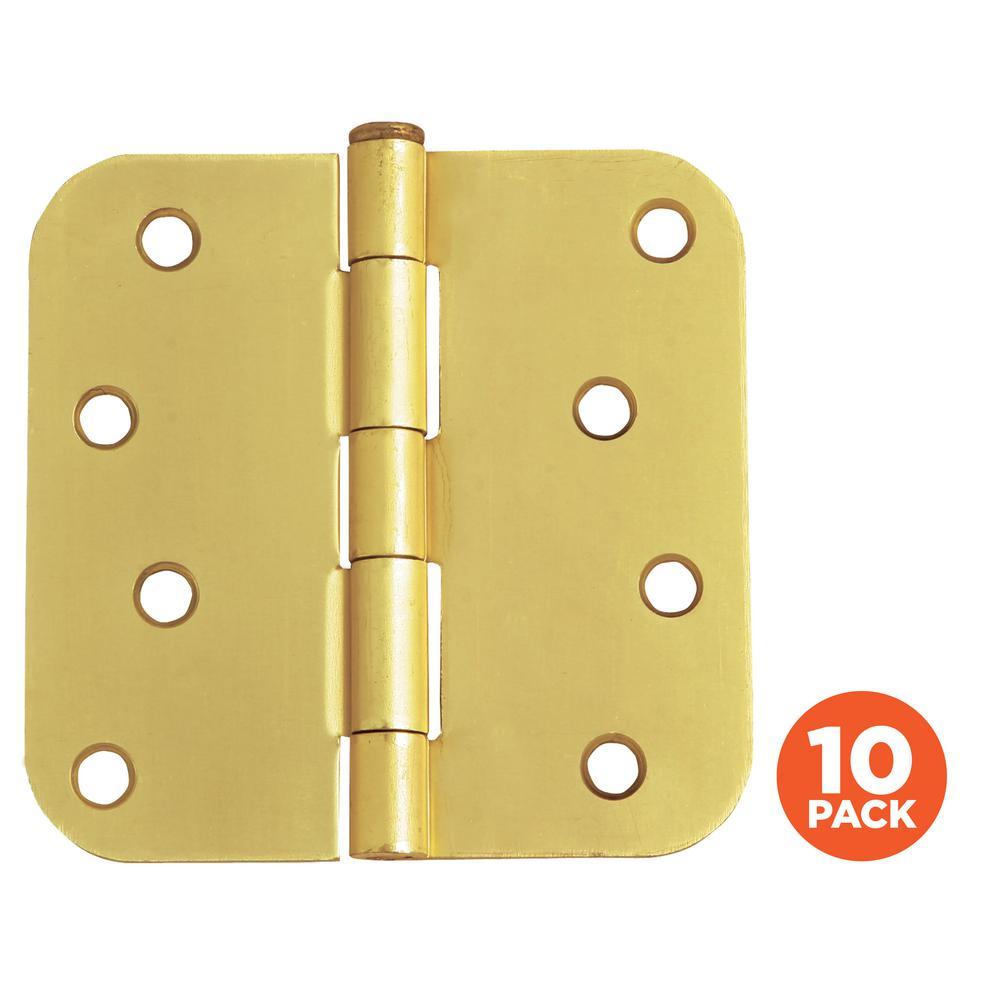 4 in. x 5/8 in. Radius Satin Brass Door Hinge Value Pack (10 per Pack)