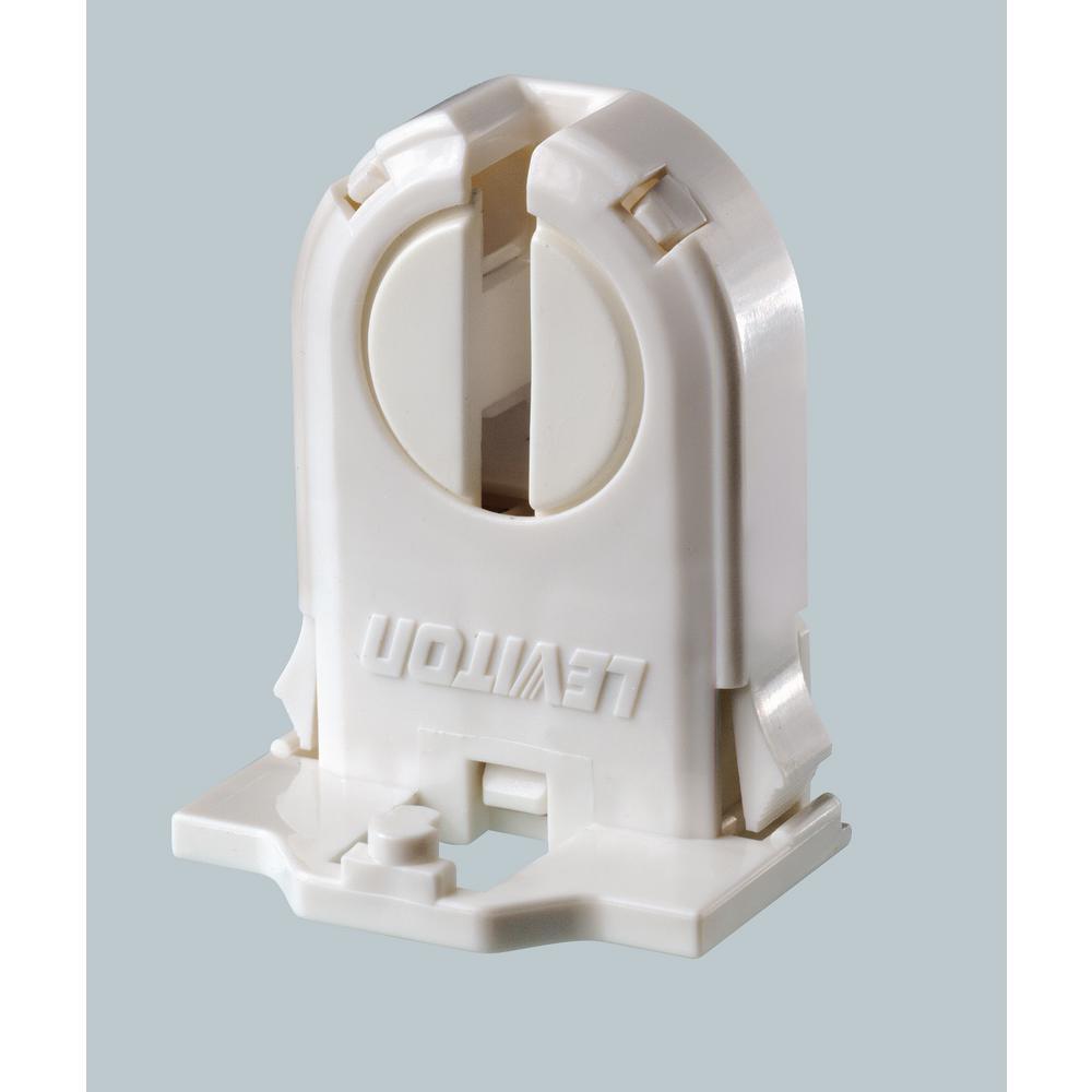 660W Medium Profile Medium Bi-Pin Lamp Center for T-8 and T-12 Lamps Linear Fluorescent Lampholder Turn Type, White