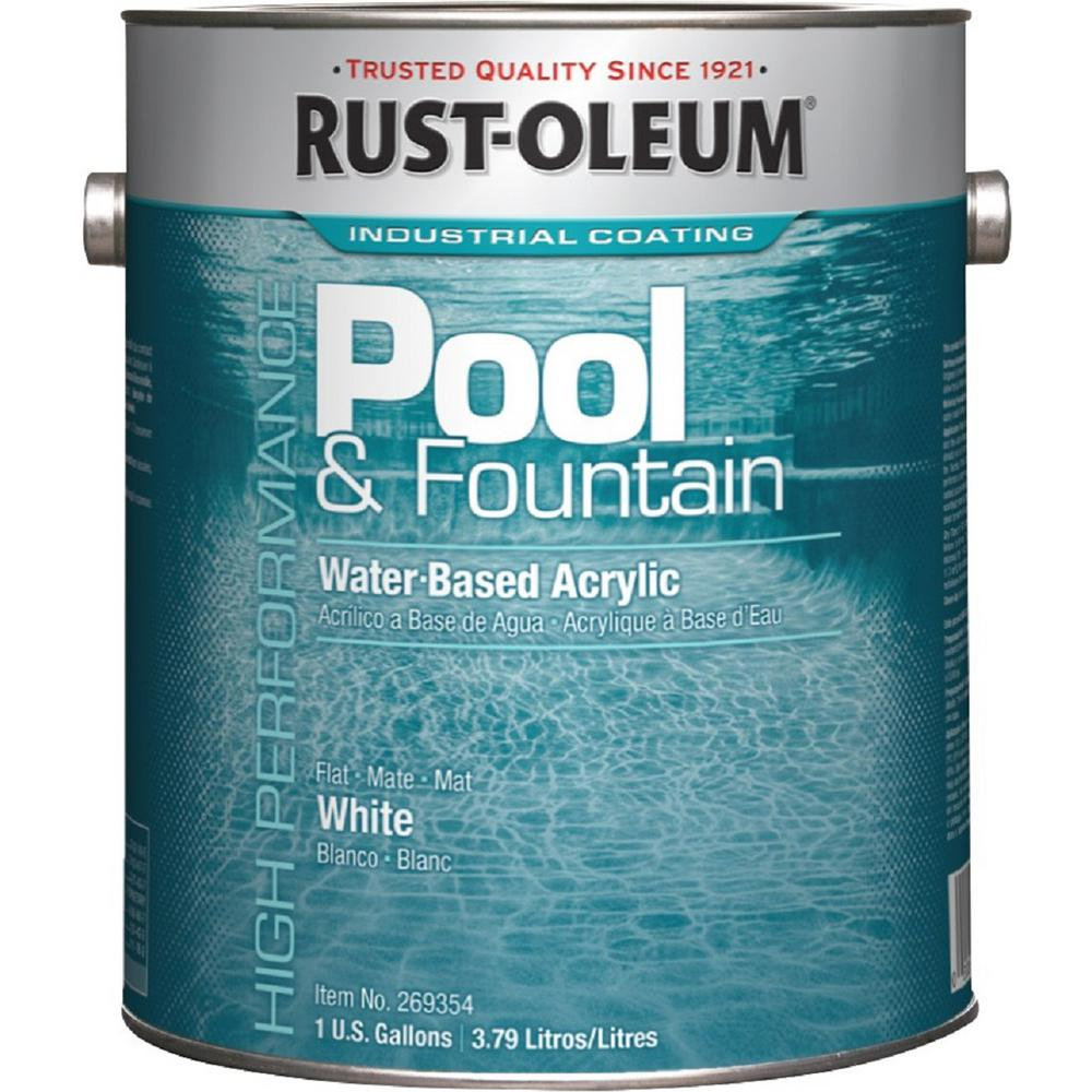 Rust Oleum 1 Gal White Acrylic Pool And Fountain Paint 2 Pack 269354 The Home Depot