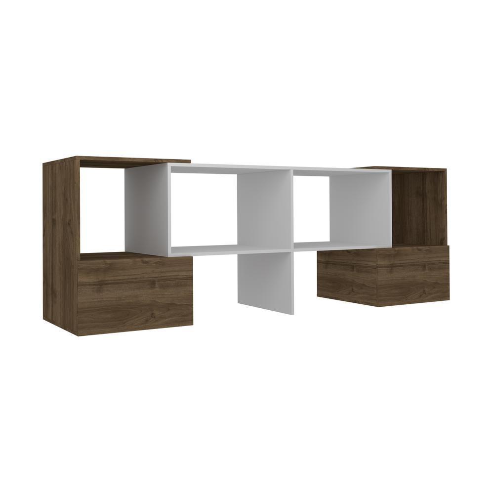 Tahoma White and Walnut Modern TV Stand