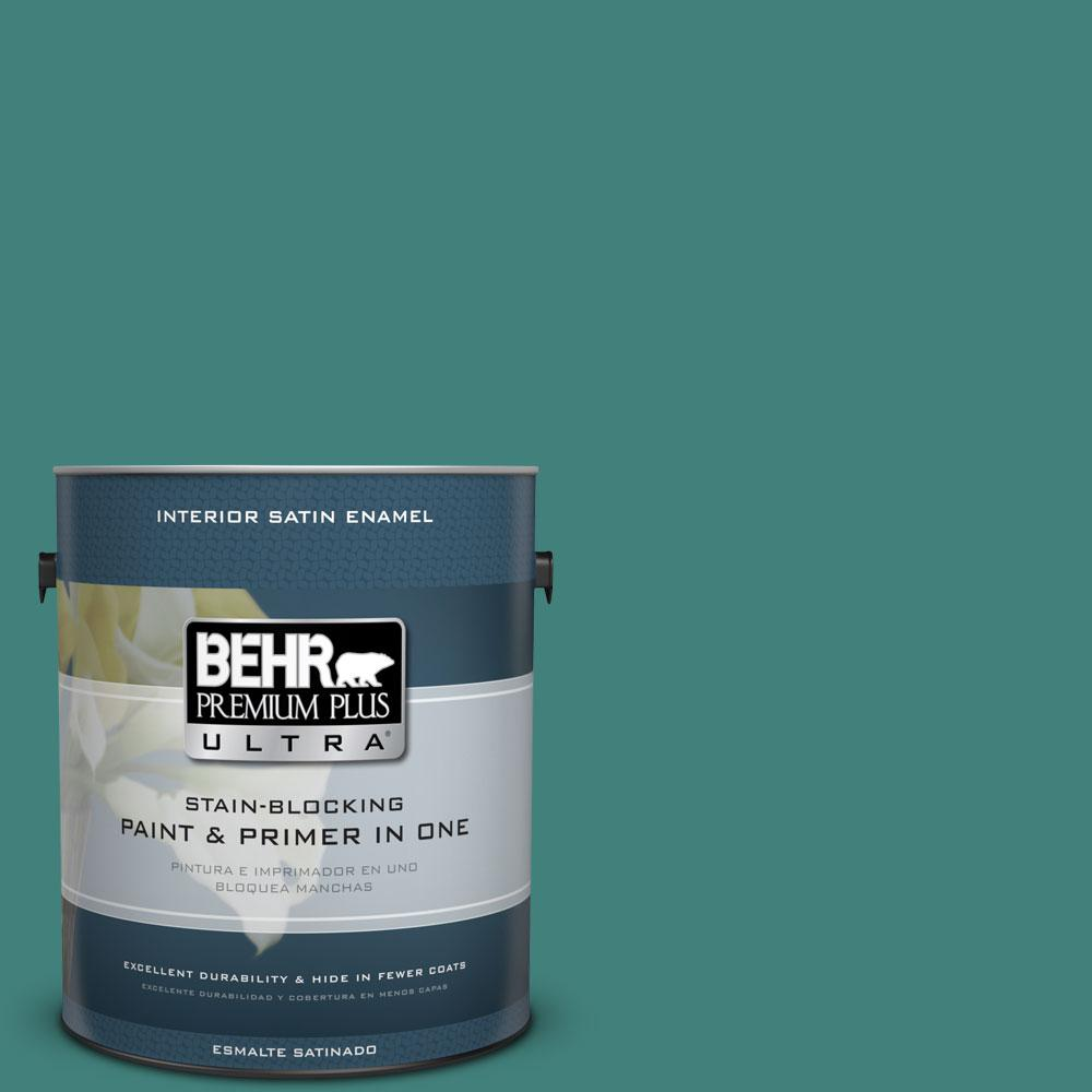 1-gal. #M450-6 Bubble Turquoise Satin Enamel Interior Paint