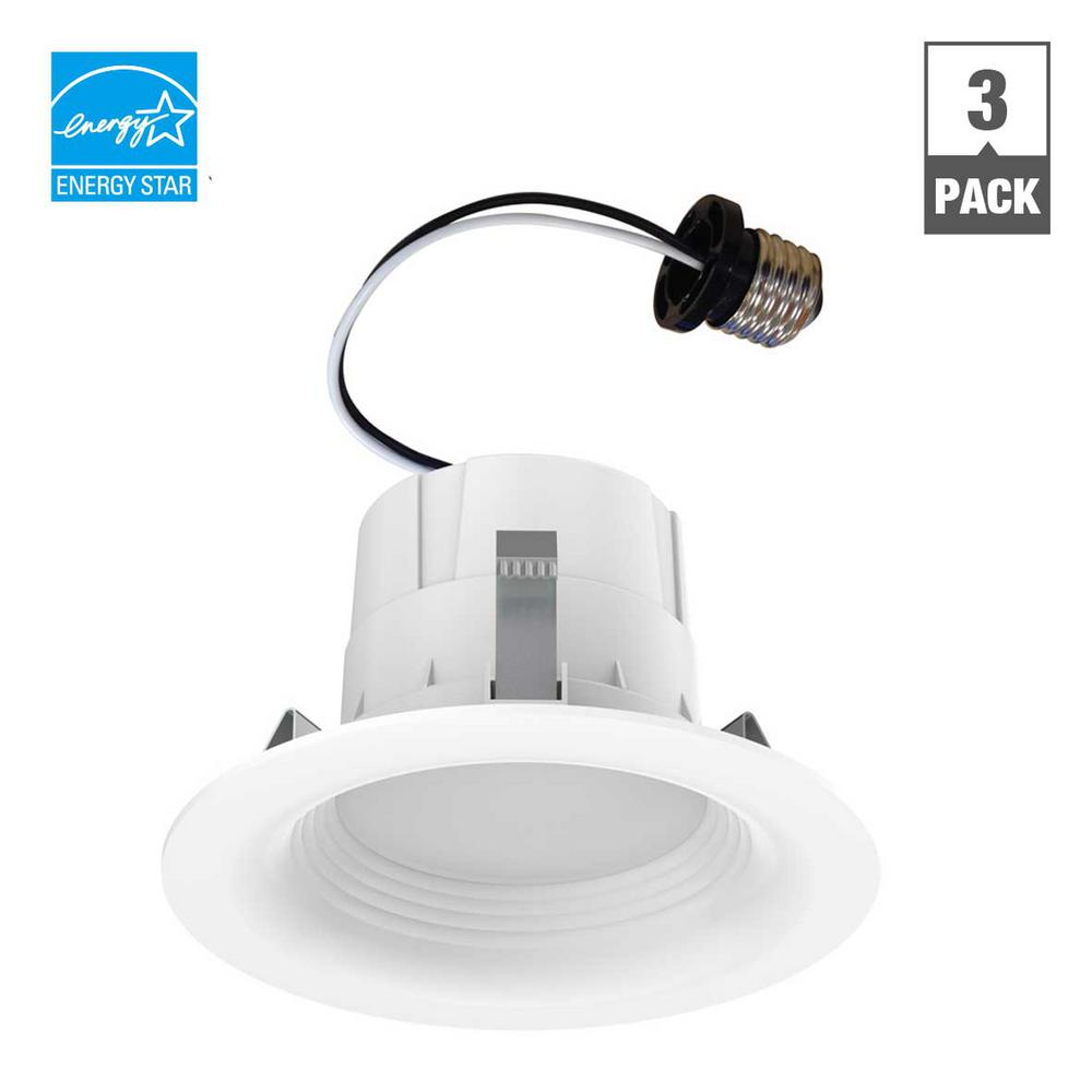 65-Watt Equivalent Daylight 4 in. White Integrated LED Recessed Trim (3-Pack)