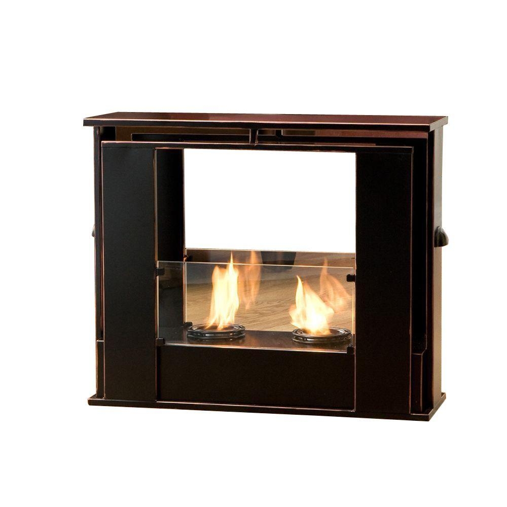 Southern Enterprises 24 in. Portable Indoor/Outdoor Gel Fuel Fireplace in Black with Copper Accents