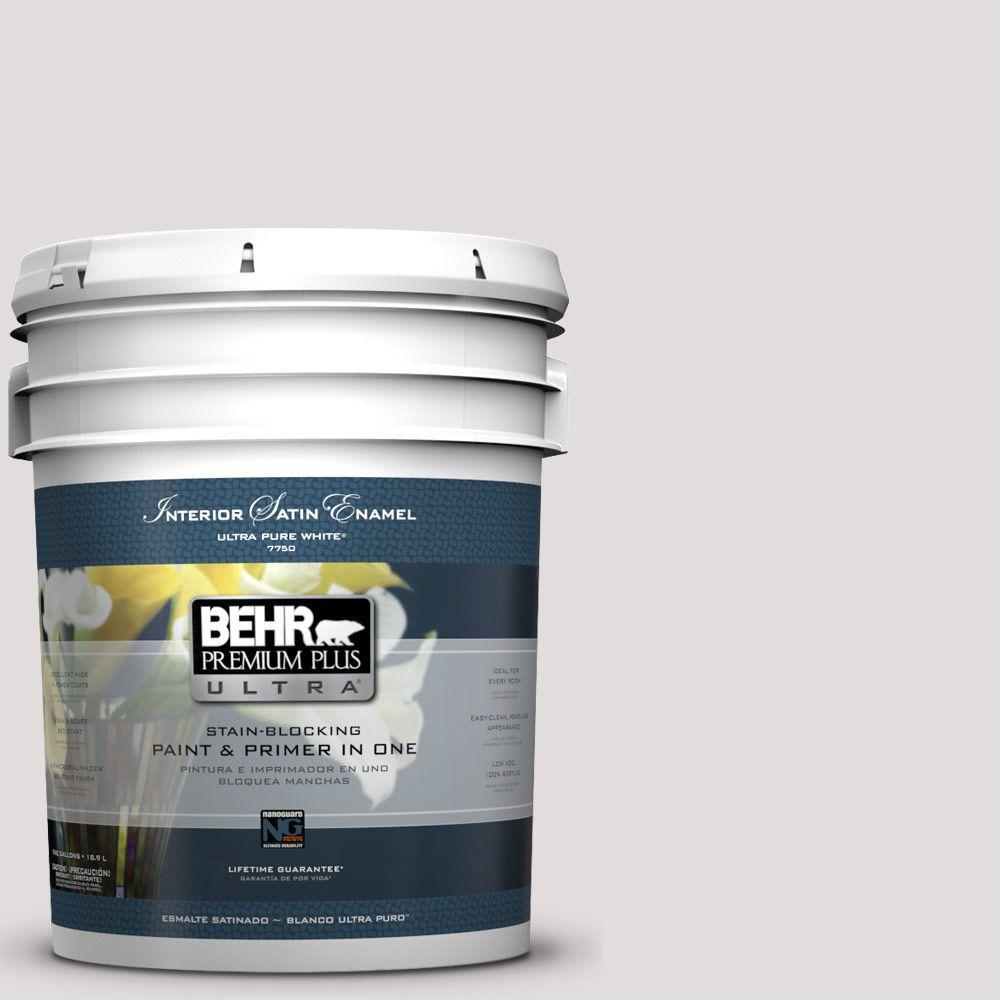 BEHR Premium Plus Ultra 5-gal. #PR-W7 Fading Fog Satin Enamel Interior Paint