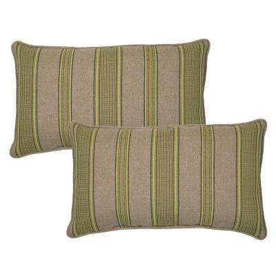 Luxe Stripe Outdoor Lumbar Pillow with Welt (2-Pack)
