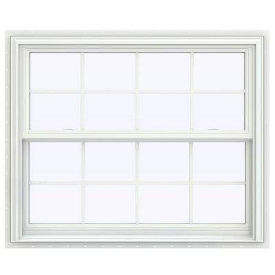 43.5 in. x 53.5 in. V-2500 Series White Vinyl Double Hung Window with Colonial Grids/Grilles
