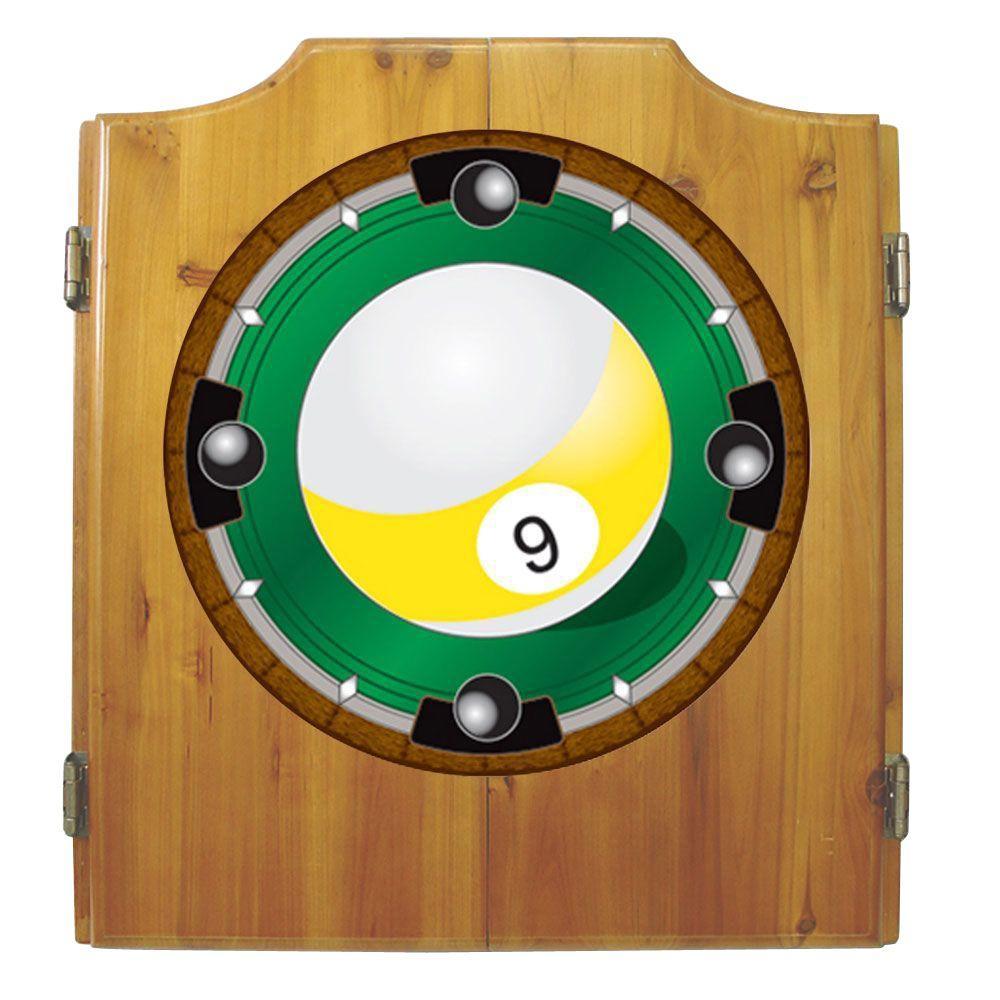 Trademark Wood Finish Dart Cabinet Set - 9-Ball