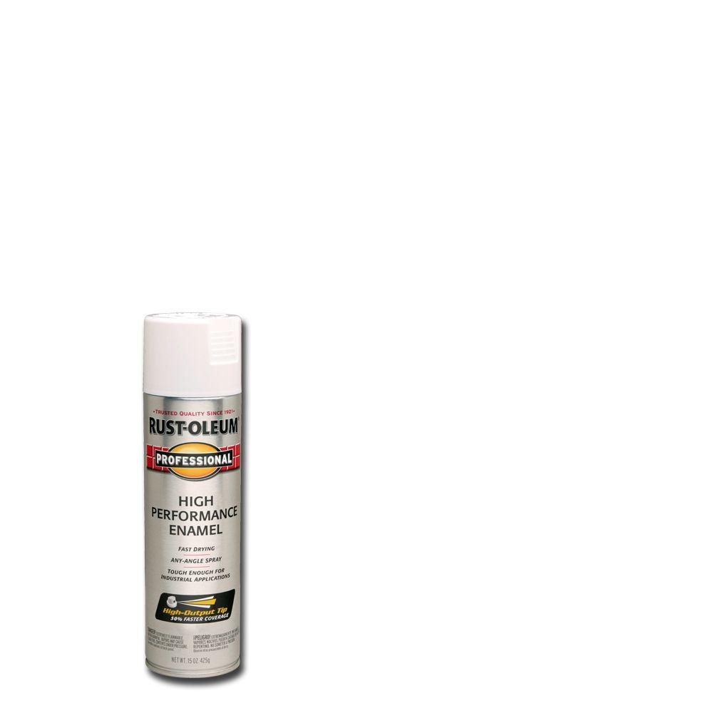 Rust Oleum Professional 15 Oz High Performance Enamel Gloss White Spray Paint 7592838 The Home Depot
