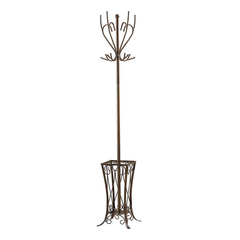 Kings Brand Furniture Pewter Metal 12 Hook Hall Tree With Umbrella Stand