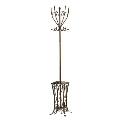 Pewter Metal 12-Hook Hall Tree with Umbrella Stand