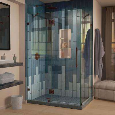 Quatra Lux 34-5/16 in. x 46-5/16 in. x 72 in. Frameless Corner Hinged Shower Enclosure in Oil Rubbed Bronze