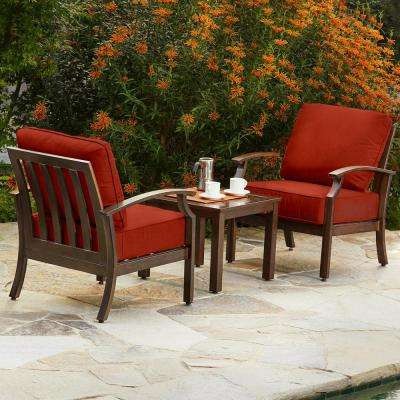 Bridgeport 3-Piece Metal Patio Conversation Set with Red Cushions