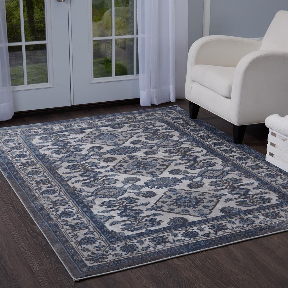 Bazaar Elegance Gray Blue 5 Ft X 7 Ft Indoor Area Rug 2