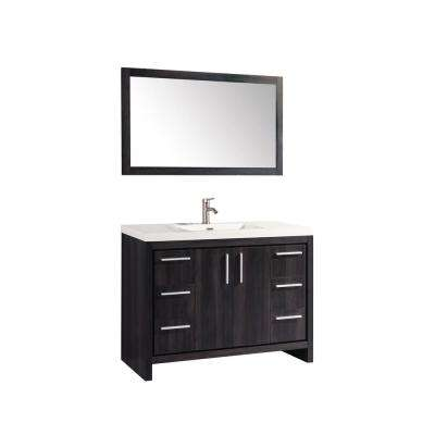 Miami 48 in. W x 19.5 in. D x 36 in. H Vanity in Black Walnut with Acrylic Vanity Top in White, White Basin and Mirror