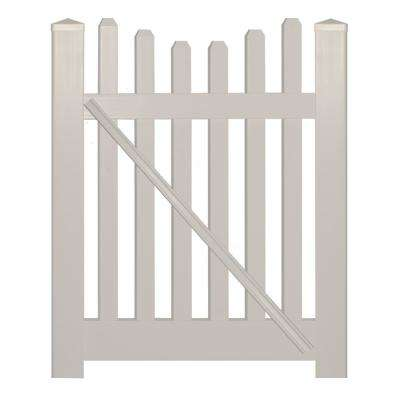 Hampshire 4 ft. W x 5 ft. H Tan Vinyl Picket Fence Gate Kit