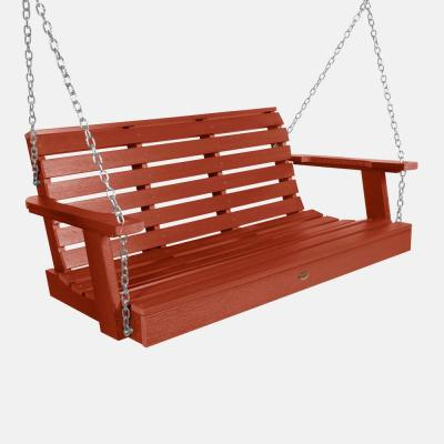 Weatherly 48 in. Rustic Red Plastic Porch Swing