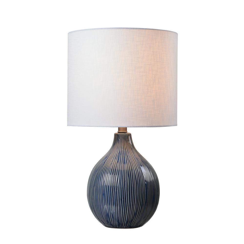 Kenroy Home Intaglio 22 in. Blue Accent Lamp with White Linen Shade