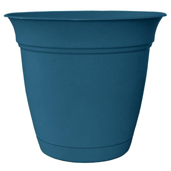 Belle 20 in. Dia. Peacock Blue Plastic Planter with Attached Saucer