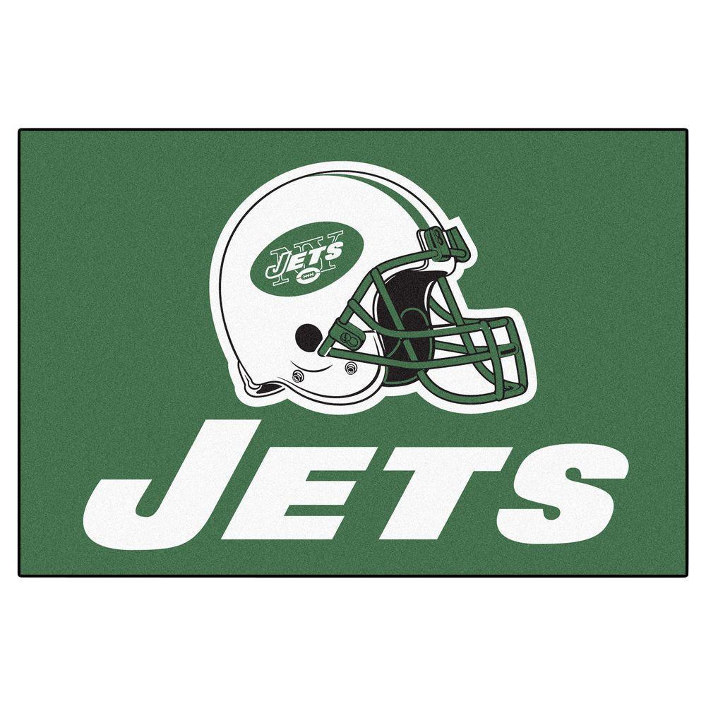 NFL New York Jets Green 19 in. x 30 in. Rectangular Indoor Starter Mat Area Rug