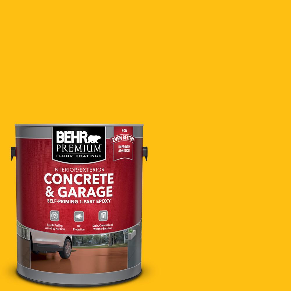 BEHR Premium 1 gal. #P290-7 Laser Lemon Self-Priming 1-Part Epoxy Satin Interior/Exterior Concrete and Garage Floor Paint