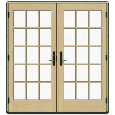 72 in. x 80 in. W-4500 Contemporary Green Clad Wood Right-Hand 15 Lite French Patio Door w/Lacquered Interior