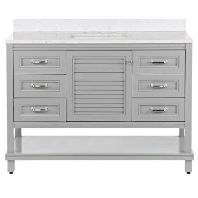 Eastbourne 49 in. W x 19 in. D Bath Vanity in Sterling Gray with Stone Effects Vanity Top in Pulsar with White Sink