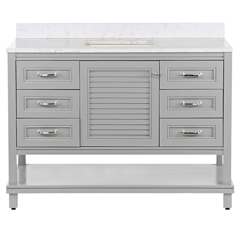 St. Paul Eastbourne 49.25 in. W x 19 in. D Bath Vanity in Sterling Gray with Stone Effects Vanity Top in Pulsar with White Sink