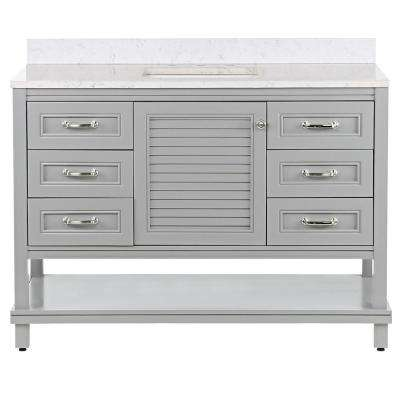 Eastbourne 49.25 in. W x 19 in. D Bath Vanity in Sterling Gray with Stone Effects Vanity Top in Pulsar with White Sink