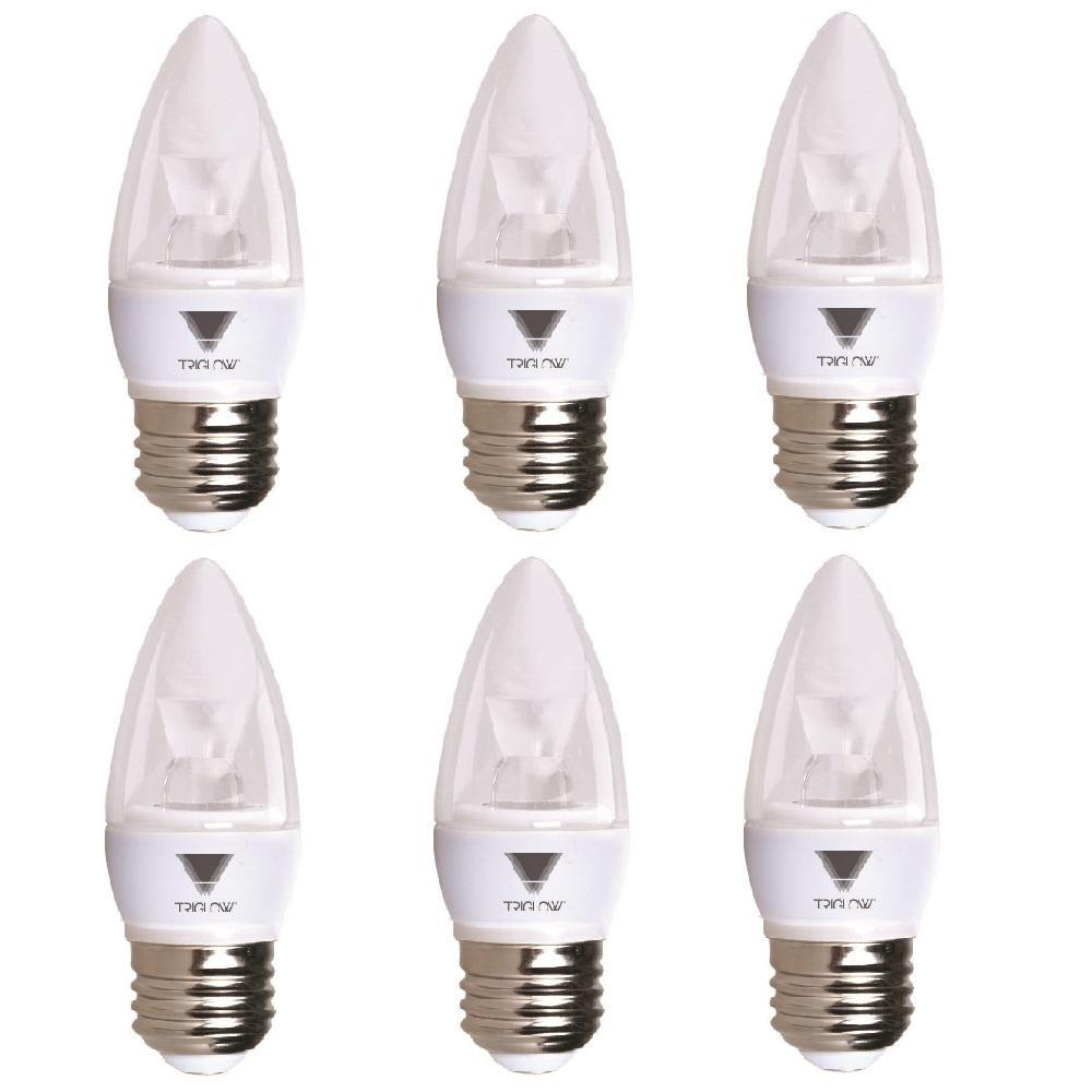 40-Watt Equivalent B11 Dimmable E26 Base Candelabra Torpedo LED Light Bulb Cool White 4100K (6-Pack)